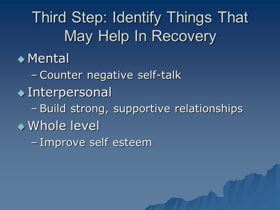 Third Step: Identify Things That May Help In Recovery  Mental –Counter negative self-talk  Interpersonal –Build strong, supportive relationships  Whole level –Improve self esteem