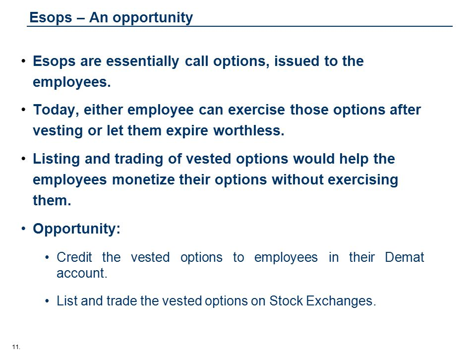 11. Esops – An opportunity Esops are essentially call options, issued to the employees.