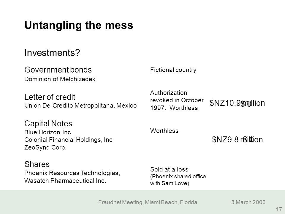 Fraudnet Meeting, Miami Beach, Florida3 March 2006 17 Untangling the mess Investments? $NZ10.9 million Government bonds Dominion of Melchizedek Letter