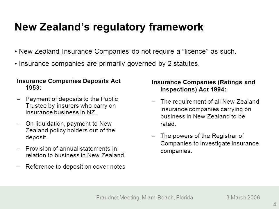 Fraudnet Meeting, Miami Beach, Florida3 March 2006 4 New Zealand's regulatory framework Insurance Companies Deposits Act 1953: –Payment of deposits to