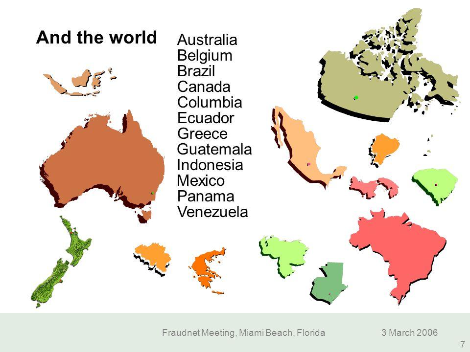 Fraudnet Meeting, Miami Beach, Florida3 March 2006 7 Mexico Canada Belgium Guatemala Indonesia Columbia Brazil Ecuador Venezuela Australia Panama Gree