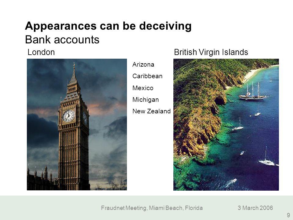Fraudnet Meeting, Miami Beach, Florida3 March 2006 9 Appearances can be deceiving Bank accounts British Virgin Islands London Arizona Caribbean Mexico