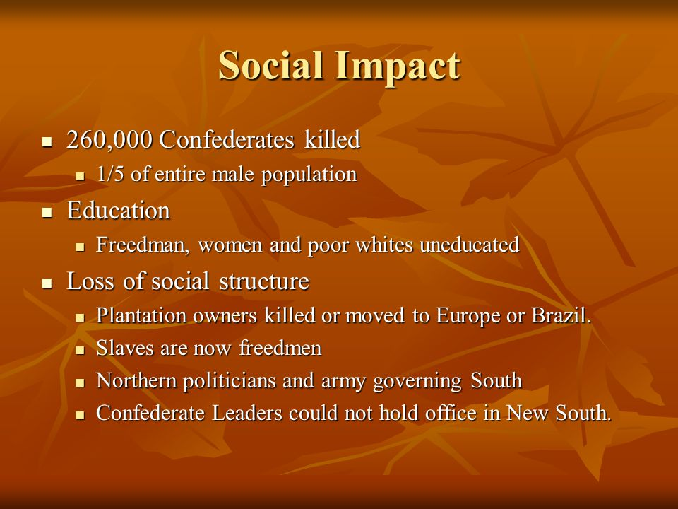 Social Impact 260,000 Confederates killed 1/5 of entire male population Education Freedman, women and poor whites uneducated Loss of social structure Plantation owners killed or moved to Europe or Brazil.