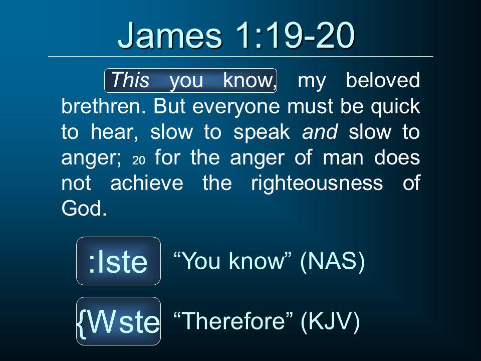 James 1:19-20 This you know, my beloved brethren.