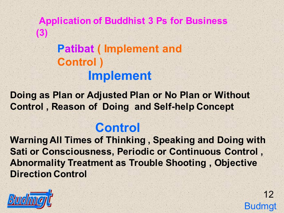 12 Doing as Plan or Adjusted Plan or No Plan or Without Control, Reason of Doing and Self-help Concept Implement Warning All Times of Thinking, Speaking and Doing with Sati or Consciousness, Periodic or Continuous Control, Abnormality Treatment as Trouble Shooting, Objective Direction Control Control Patibat ( Implement and Control ) Application of Buddhist 3 Ps for Business (3) Budmgt 3Ps