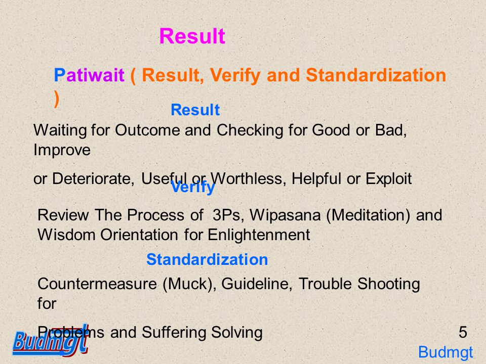 Waiting for Outcome and Checking for Good or Bad, Improve or Deteriorate, Useful or Worthless, Helpful or Exploit Result Verify Review The Process of 3Ps, Wipasana (Meditation) and Wisdom Orientation for Enlightenment Patiwait ( Result, Verify and Standardization ) Standardization Countermeasure (Muck), Guideline, Trouble Shooting for Problems and Suffering Solving 5 Result Budmgt 3Ps