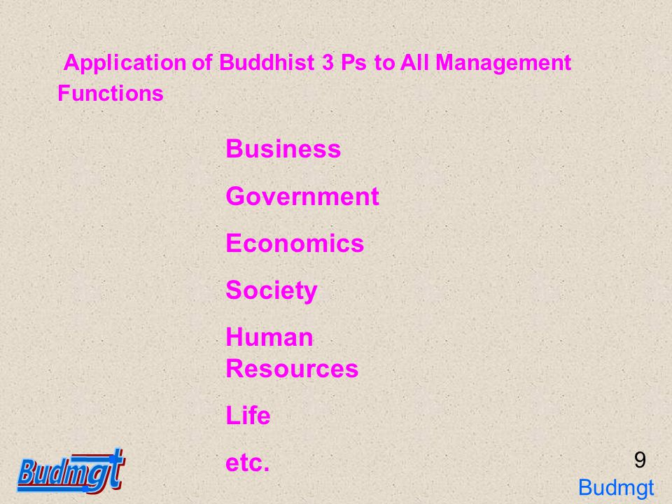 9 Application of Buddhist 3 Ps to All Management Functions Business Government Economics Society Human Resources Life etc.