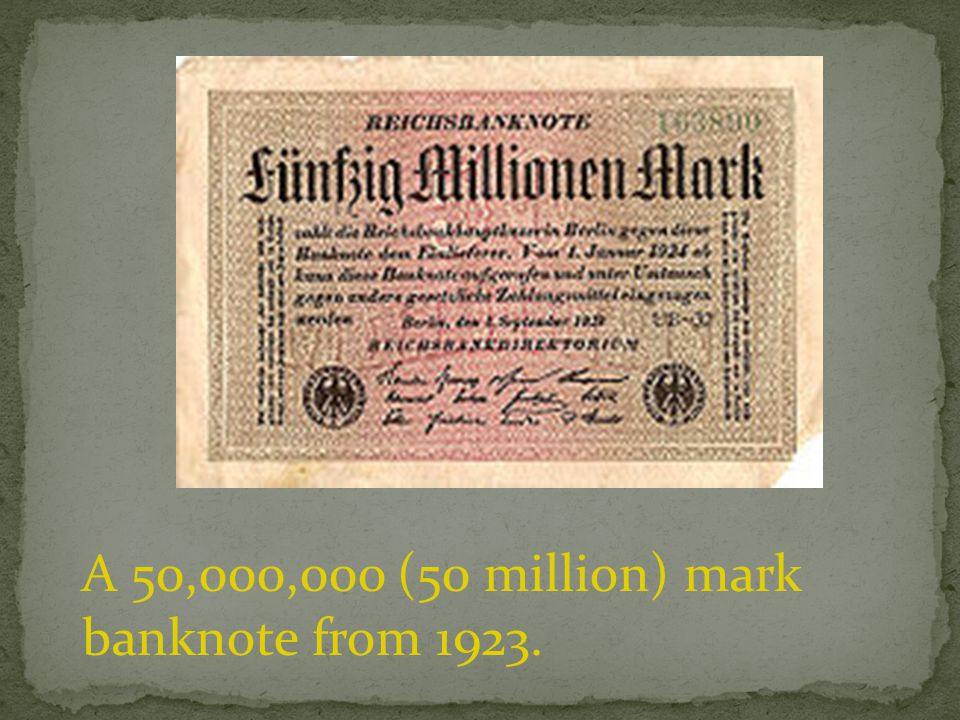 A 50,000,000 (50 million) mark banknote from 1923.