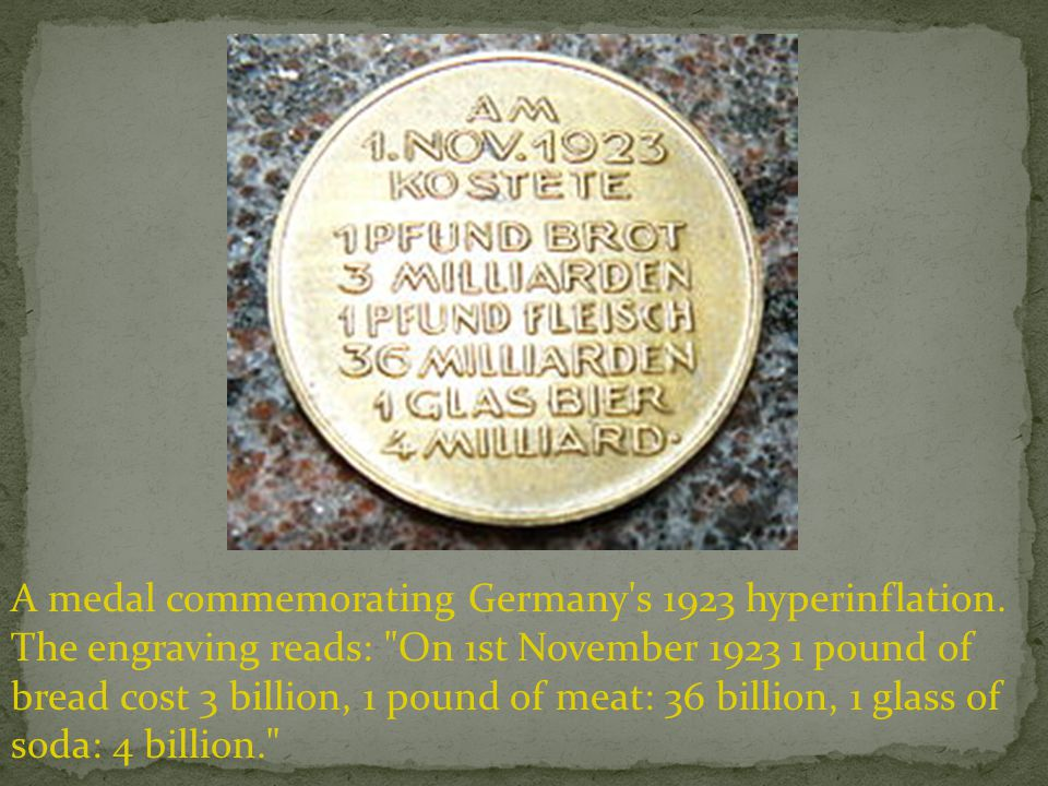 A medal commemorating Germany s 1923 hyperinflation.