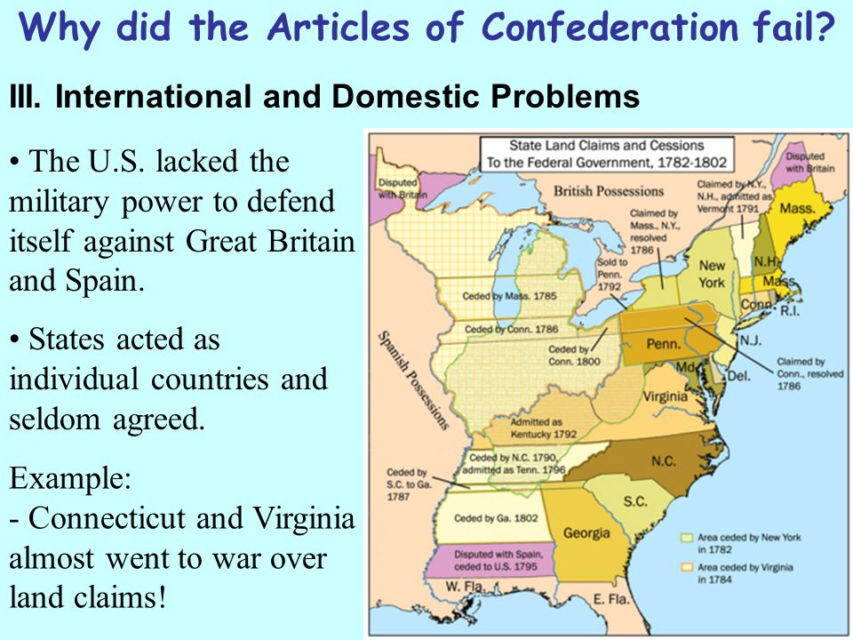 Why did the Articles of Confederation fail.III. International and Domestic Problems The U.S.