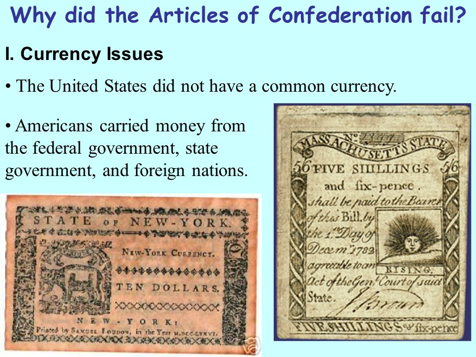 Why did the Articles of Confederation fail.I.