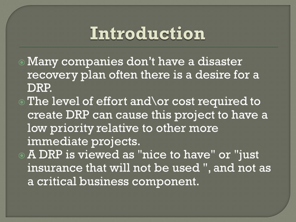  Many companies don't have a disaster recovery plan often there is a desire for a DRP.