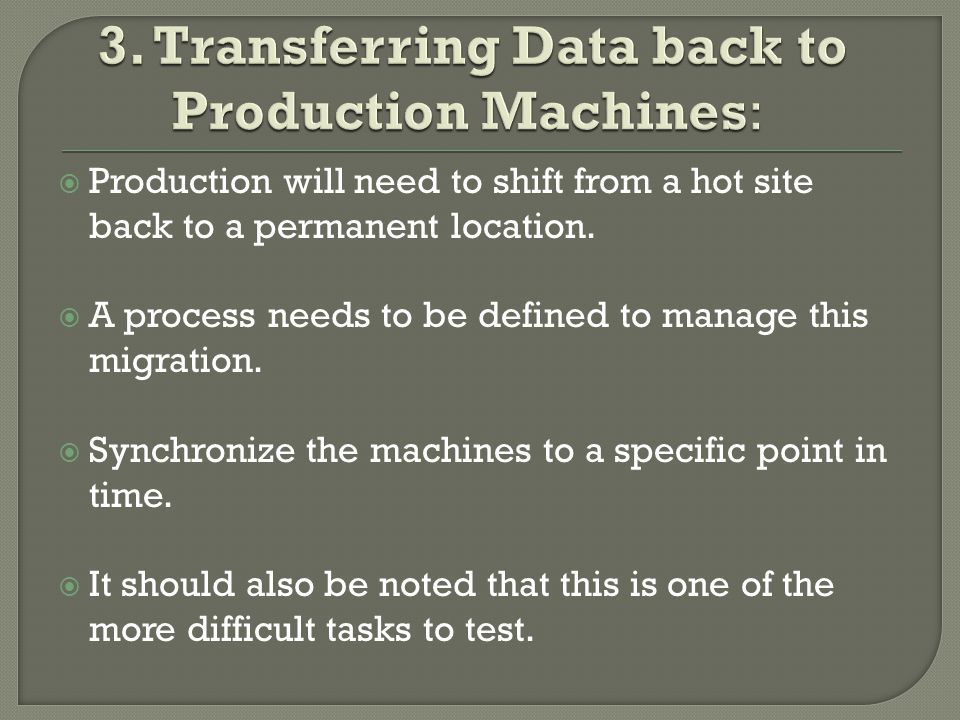  Production will need to shift from a hot site back to a permanent location.