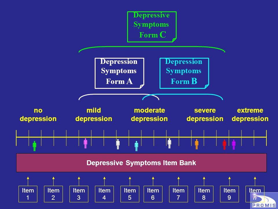 no depression mild depression moderate depression severe depression extreme depression    Depressive Symptoms Item Bank Item 1 Item 2 Item 3 Item