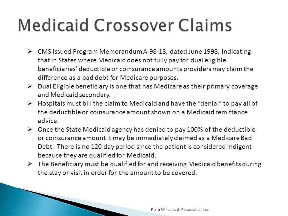  CMS issued Program Memorandum A-98-18, dated June 1998, indicating that in States where Medicaid does not fully pay for dual eligible beneficiaries' deductible or coinsurance amounts providers may claim the difference as a bad debt for Medicare purposes.
