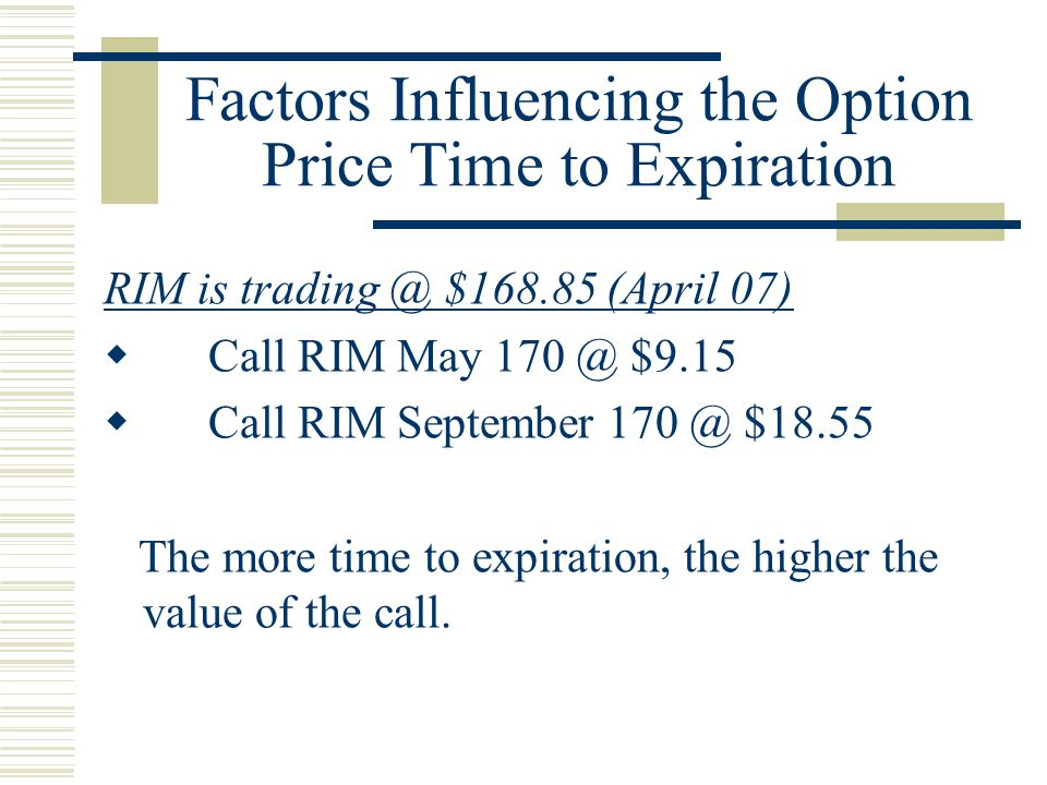 Factors Influencing the Option Price Time to Expiration RIM is trading @ $168.85 (April 07)  Call RIM May 170 @ $9.15  Call RIM September 170 @ $18.55 The more time to expiration, the higher the value of the call.