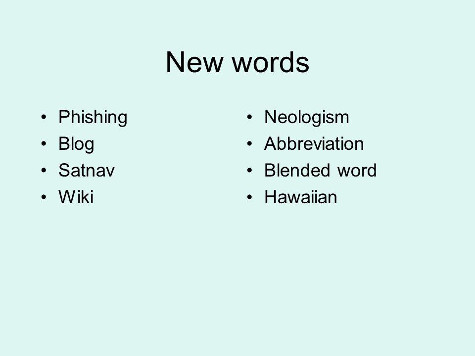 New words Phishing Blog Satnav Wiki