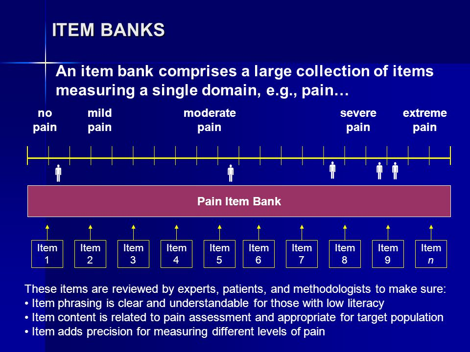 ITEM BANKS no pain mild pain moderate pain severe pain extreme pain    Pain Item Bank Item 1 Item 2 Item 3 Item 4 Item 5 Item 6 Item 7 Item 8 Item 9 Item n These items are reviewed by experts, patients, and methodologists to make sure: Item phrasing is clear and understandable for those with low literacy Item content is related to pain assessment and appropriate for target population Item adds precision for measuring different levels of pain An item bank comprises a large collection of items measuring a single domain, e.g., pain…