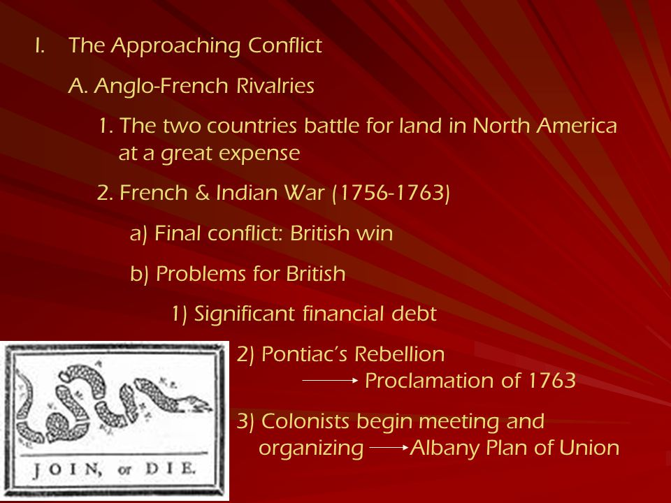 I.The Approaching Conflict A.Anglo-French Rivalries 1.