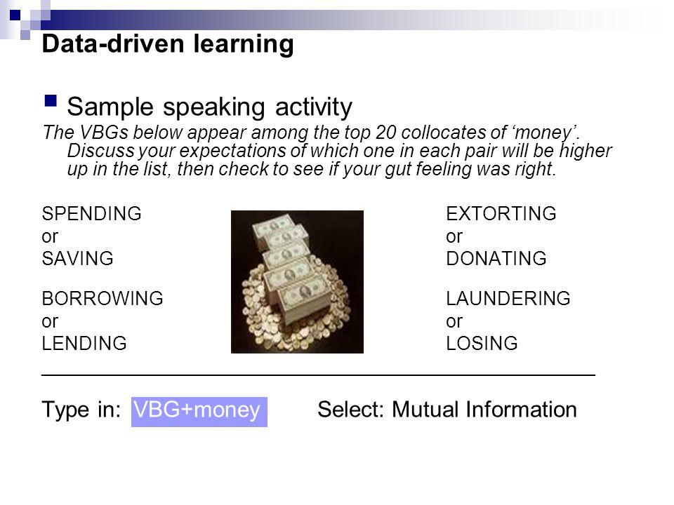 Data-driven learning  Sample speaking activity The VBGs below appear among the top 20 collocates of 'money'.