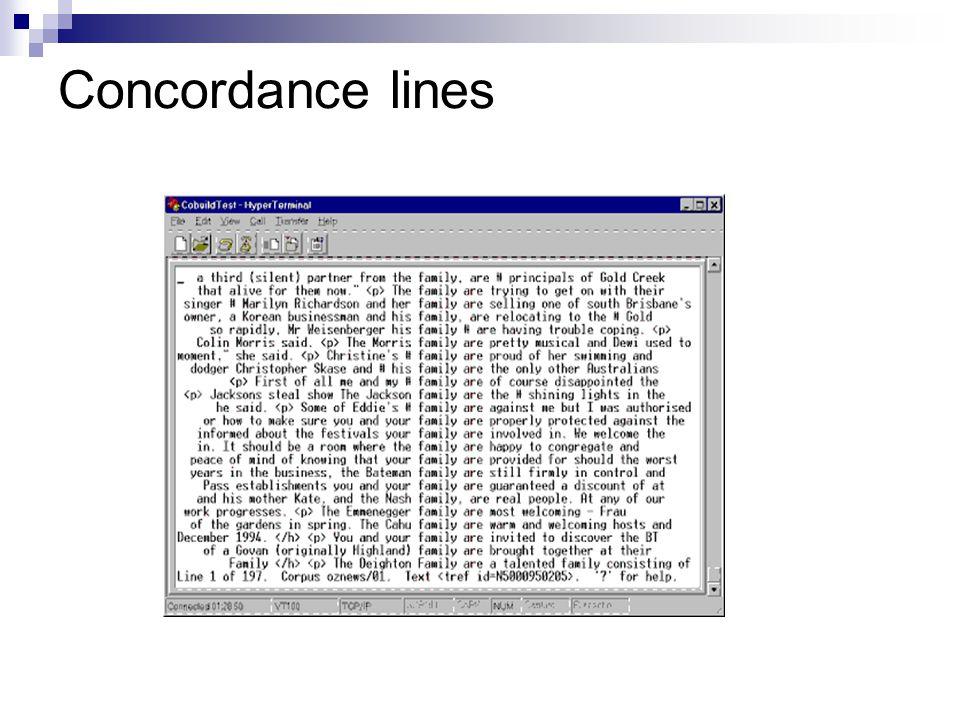 Concordance lines