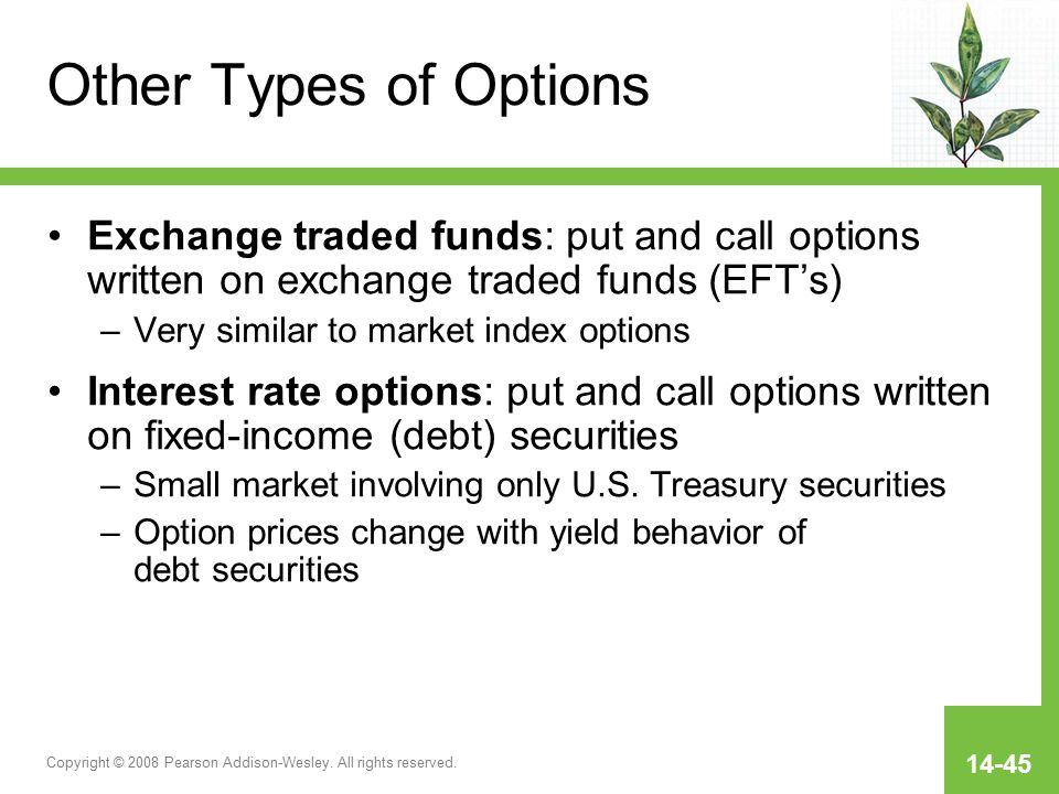 Copyright © 2008 Pearson Addison-Wesley. All rights reserved. 14-45 Other Types of Options Exchange traded funds: put and call options written on exch