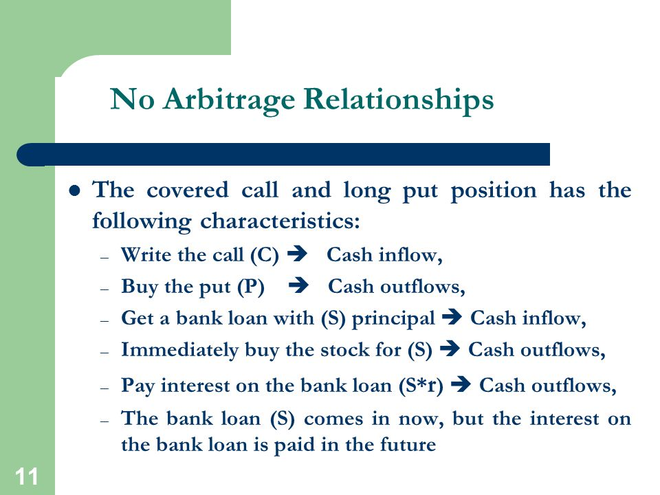 11 No Arbitrage Relationships The covered call and long put position has the following characteristics: – Write the call (C)  Cash inflow, – Buy the