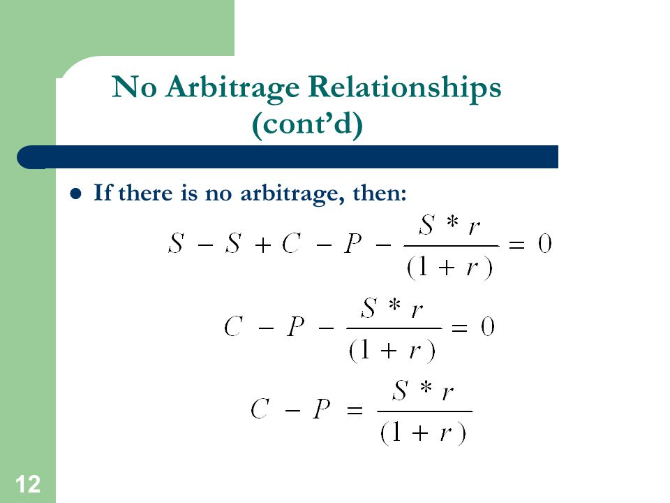 12 No Arbitrage Relationships (cont'd) If there is no arbitrage, then: