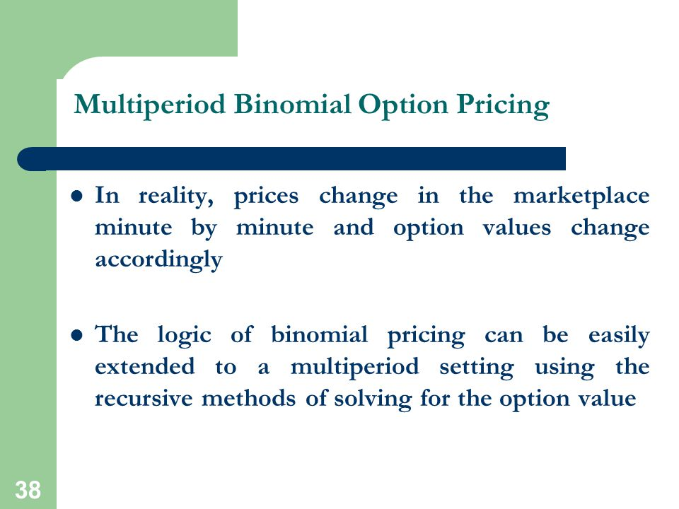 38 Multiperiod Binomial Option Pricing In reality, prices change in the marketplace minute by minute and option values change accordingly The logic of