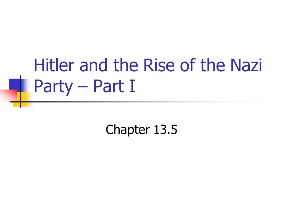 Hitler and the Rise of the Nazi Party – Part I Chapter 13.5