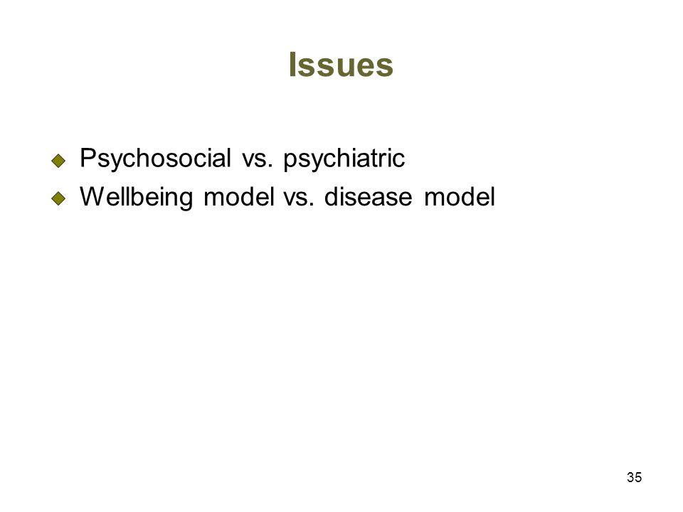 35 Issues Psychosocial vs. psychiatric Wellbeing model vs. disease model