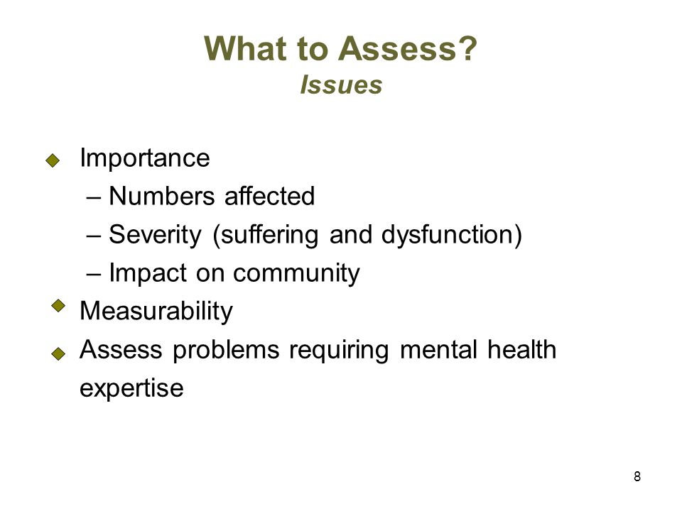 8 What to Assess.