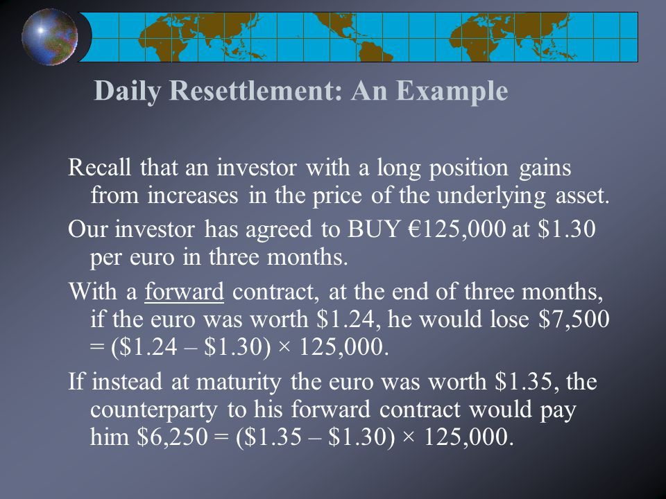 Daily Resettlement: An Example Recall that an investor with a long position gains from increases in the price of the underlying asset. Our investor ha