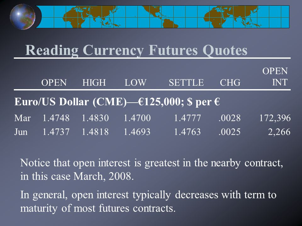 Reading Currency Futures Quotes Notice that open interest is greatest in the nearby contract, in this case March, 2008.
