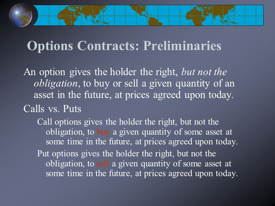 Options Contracts: Preliminaries An option gives the holder the right, but not the obligation, to buy or sell a given quantity of an asset in the future, at prices agreed upon today.