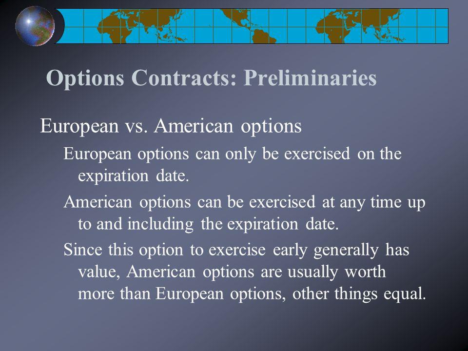 Options Contracts: Preliminaries European vs.