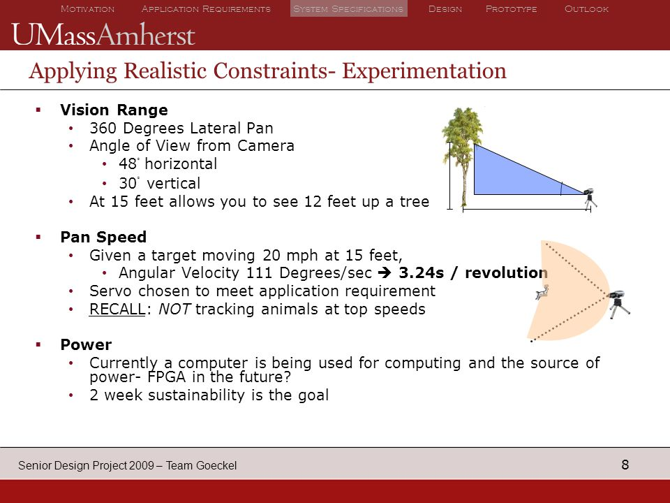 8 Motivation Application Requirements System Specifications Design Prototype Outlook Senior Design Project 2009 – Team Goeckel Applying Realistic Constraints- Experimentation  Vision Range 360 Degrees Lateral Pan Angle of View from Camera 48 ○ horizontal 30 ○ vertical At 15 feet allows you to see 12 feet up a tree  Pan Speed Given a target moving 20 mph at 15 feet, Angular Velocity 111 Degrees/sec  3.24s / revolution Servo chosen to meet application requirement RECALL: NOT tracking animals at top speeds  Power Currently a computer is being used for computing and the source of power- FPGA in the future.
