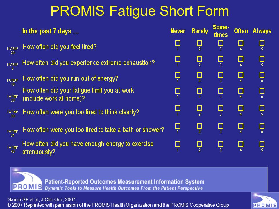 PROMIS Fatigue Short Form Garcia SF et al, J Clin Onc, 2007. © 2007 Reprinted with permission of the PROMIS Health Organization and the PROMIS Coopera