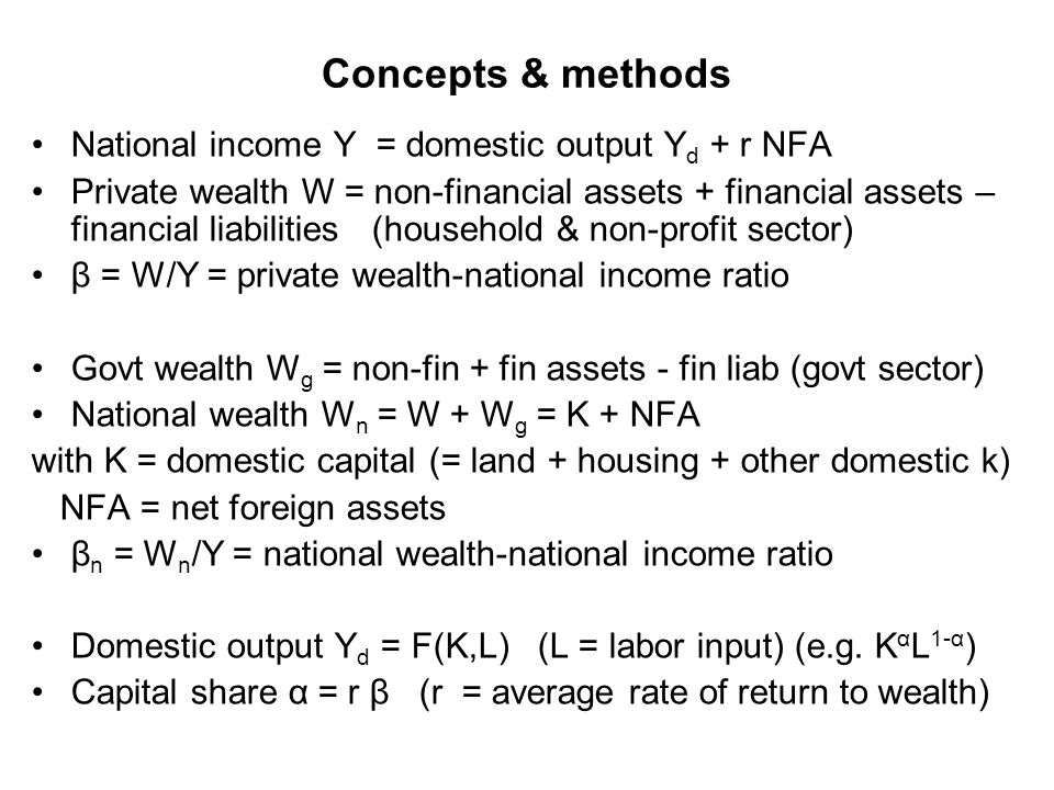 Concepts & methods National income Y = domestic output Y d + r NFA Private wealth W = non-financial assets + financial assets – financial liabilities (household & non-profit sector) β = W/Y = private wealth-national income ratio Govt wealth W g = non-fin + fin assets - fin liab (govt sector) National wealth W n = W + W g = K + NFA with K = domestic capital (= land + housing + other domestic k) NFA = net foreign assets β n = W n /Y = national wealth-national income ratio Domestic output Y d = F(K,L) (L = labor input) (e.g.