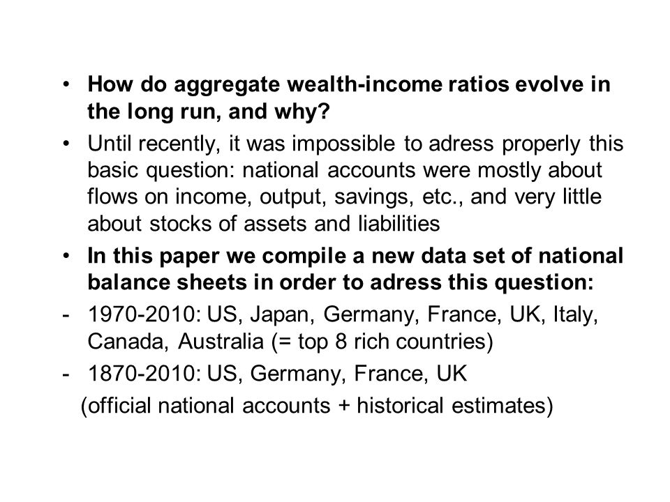 How do aggregate wealth-income ratios evolve in the long run, and why.