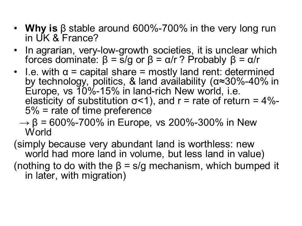 Why is β stable around 600%-700% in the very long run in UK & France.