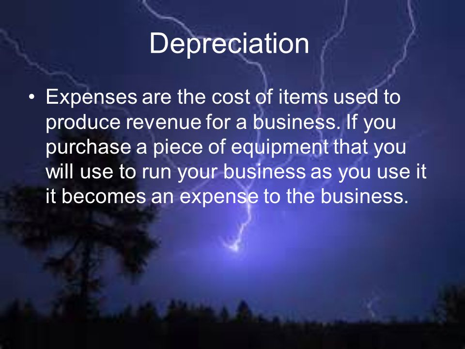 Expenses are the cost of items used to produce revenue for a business. If you purchase a piece of equipment that you will use to run your business as