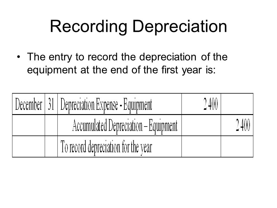 Recording Depreciation The entry to record the depreciation of the equipment at the end of the first year is: