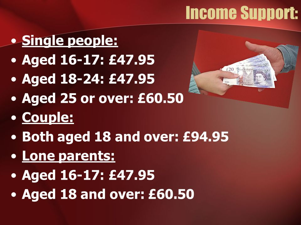 Income Support: Single people: Aged 16-17: £47.95 Aged 18-24: £47.95 Aged 25 or over: £60.50 Couple: Both aged 18 and over: £94.95 Lone parents: Aged