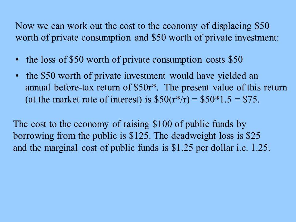 Now we can work out the cost to the economy of displacing $50 worth of private consumption and $50 worth of private investment: the loss of $50 worth of private consumption costs $50 the $50 worth of private investment would have yielded an annual before-tax return of $50r*.