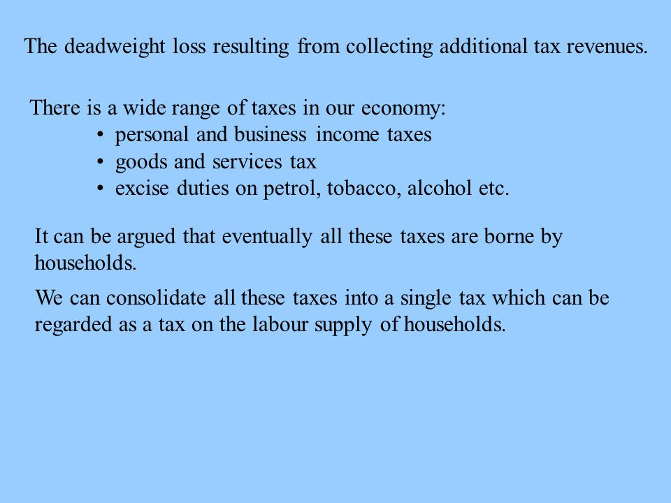 The deadweight loss resulting from collecting additional tax revenues.