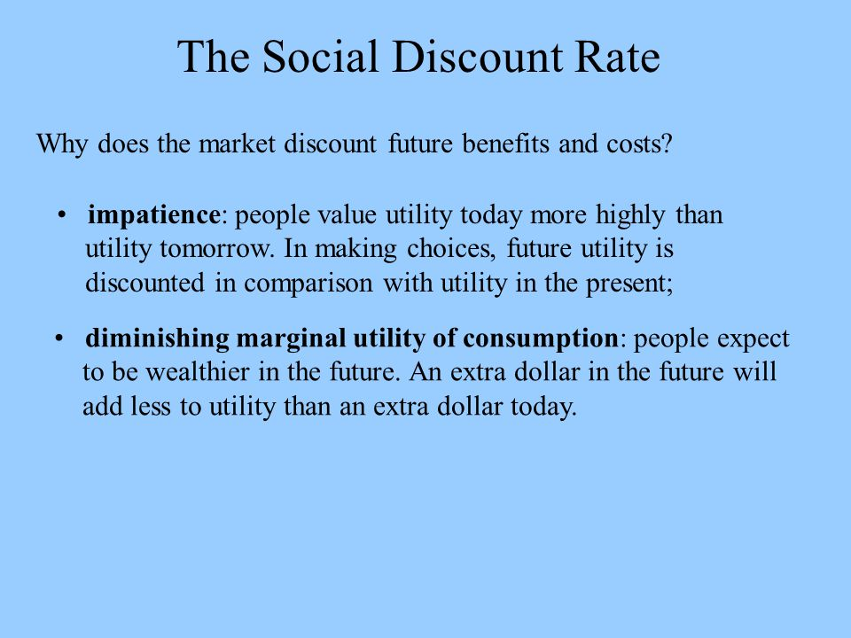 The Social Discount Rate Why does the market discount future benefits and costs.
