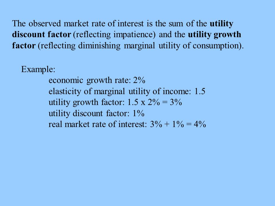 The observed market rate of interest is the sum of the utility discount factor (reflecting impatience) and the utility growth factor (reflecting diminishing marginal utility of consumption).
