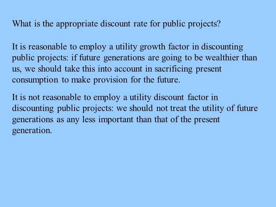 What is the appropriate discount rate for public projects.