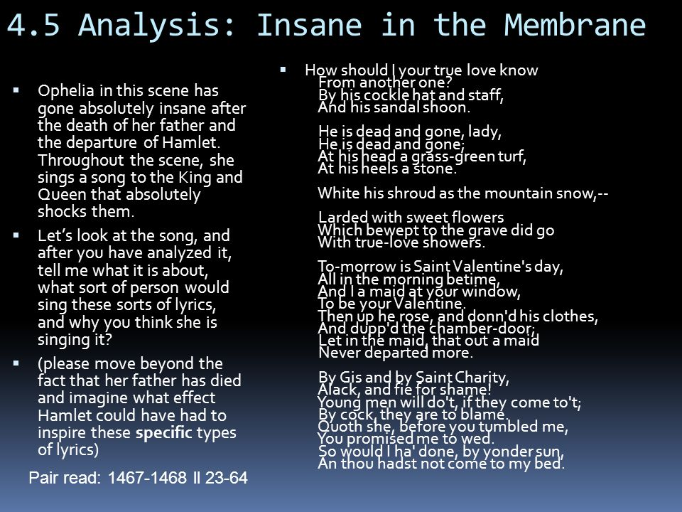 4.5 Analysis: Insane in the Membrane  Ophelia in this scene has gone absolutely insane after the death of her father and the departure of Hamlet.
